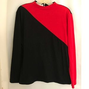 Red and black long sleeve vintage sweater